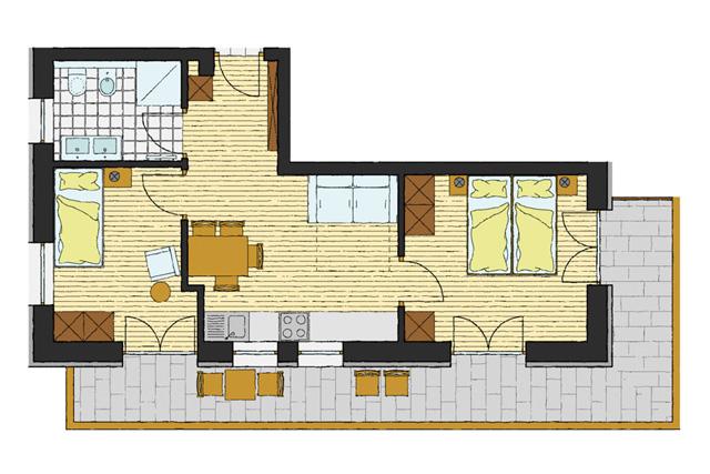 attrezzato per disabili, balcone, cucina abitabile, panca ad angolo ...